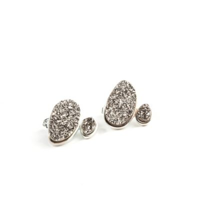 ChristineDarren Sterling Silver Plated, Two-Stone Freeform Shape Titanium Drusy Stud Earrings