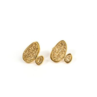 ChristineDarren 22K Gold Plated,Two-Stone Freeform Shape Gold Drusy Stud Earrings