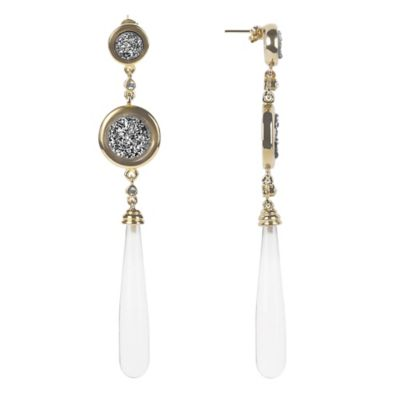 ChristineDarren Sterling Silver Double Drusy and Quartz Drop Earrings