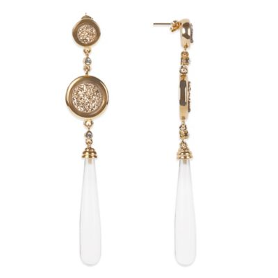 ChristineDarren 22K Gold Plated Double Drusy and Quartz Drop Earrings