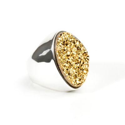 ChristineDarren Silver Plated Size 8 Freeform Drusy Ring in Gold