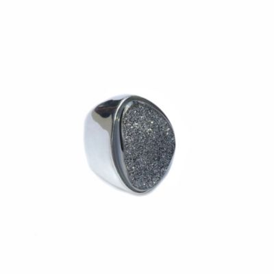 ChristineDarren Silver Plated Size 8 Freeform Drusy Ring in Titanium/Platinum