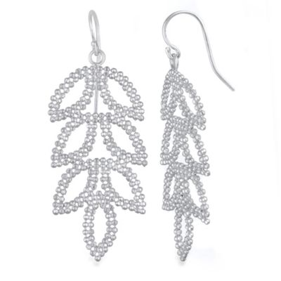 Sterling Silver Mesh Leaf Drop Earrings