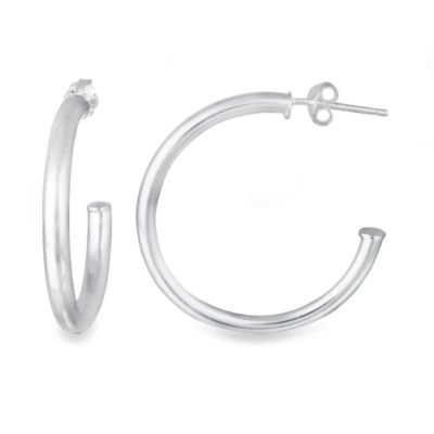 Polished Sterling Silver 0.125-Inch Post Hoop Earrings