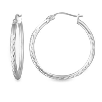 "Sterling Silver 1"" Diamond Cut Hoop Earrings"