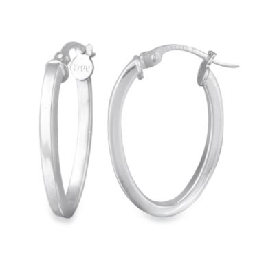 Sterling Silver 1-Inch Square Tube Oval Hoop Earrings