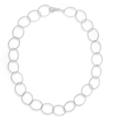 Sterling Silver Diamond Cut Oval Link Necklace