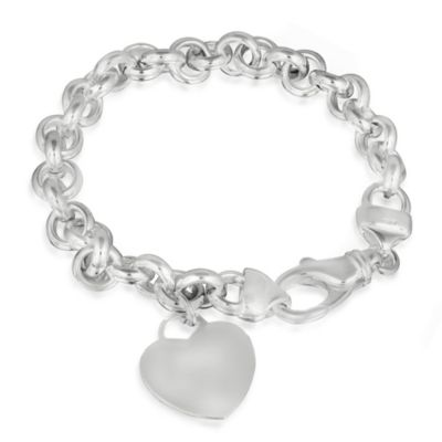 Sterling Silver Bracelet with Dangling Heart Pendant