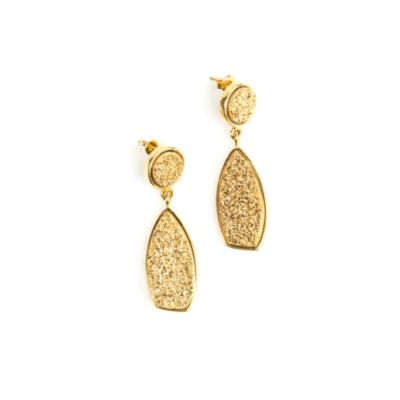 22K Gold Plated Drusy Drop Earrings
