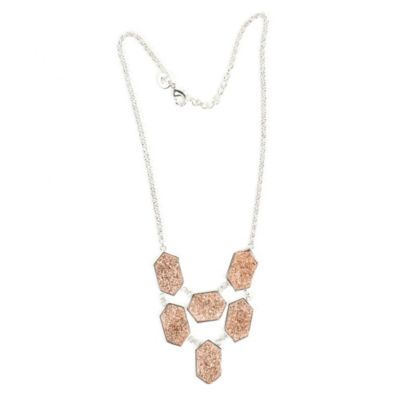 ChristineDarren Sterling Silver Plated Six Drusy Hexagon Necklace