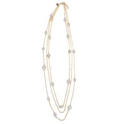 ChristineDarren 22K Gold-Plated Triple Strand Necklace with Round Drusy