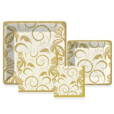 Design Design Champagne Flourish Paper Tableware Entertaining Kit