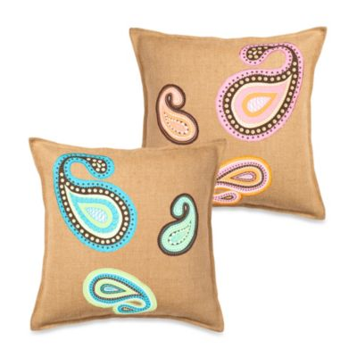 Ecoaccents® Paisley Applique Burlap Square Toss Pillow
