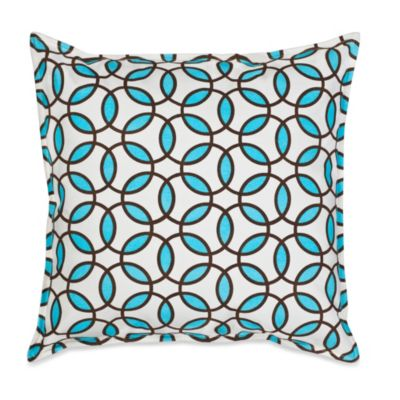 Ecoaccents® Rings Cotton Canvas Square Toss Pillow in Turquoise