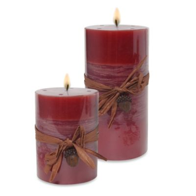 Hosley Candle Company Acorn Pillar Candle in Red