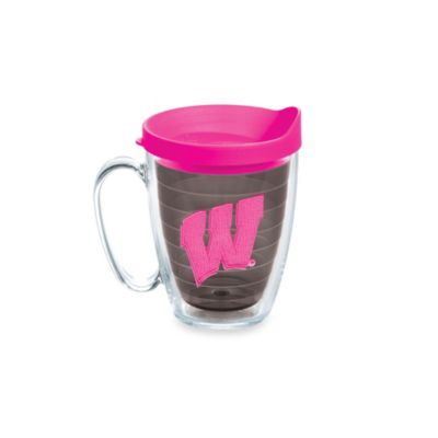 Tervis® University of Wisconsin 15-Ounce Colored Emblem Mug with Lid in Neon Pink
