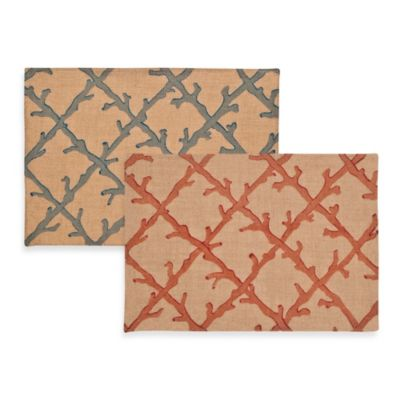 ecoaccents® Coral Lattice Burlap Placemat in Blue