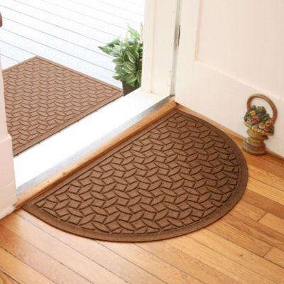 Weather Guard™ Ellipse 24-Inch x 39-Inch Half Oval Door Mat in Dark Brown