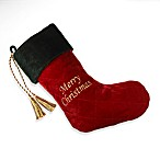 Merry Christmas Velvet Stocking with Swarovski® Elements in Red/Green