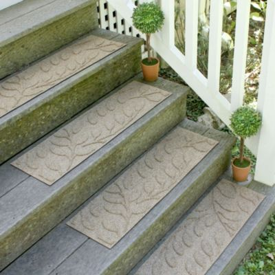 Weather Guard™ Brittney Leaf 8.5-Inch x 30-Inch Stair Treads in Camel (Set of 2)
