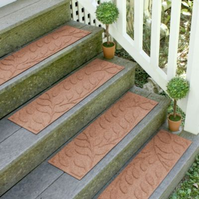 Weather Guard™ Brittney Leaf 8.5-Inch x 30-Inch Stair Treads in Medium Brown (Set of 2)