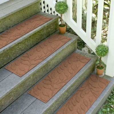 Weather Guard™ Brittney Leaf 8.5-Inch x 30-Inch Stair Treads in Dark Brown (Set of 2)