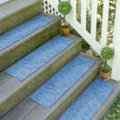 Weather Guard™ Brittney Leaf 8.5-Inch x 30-Inch Stair Treads in Medium Blue (Set of 2)