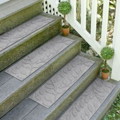 Weather Guard™ Brittney Leaf 8.5-Inch x 30-Inch Stair Treads in Medium Grey (Set of 2)