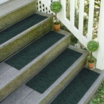 Weather Guard™ Brittney Leaf 8.5-Inch x 30-Inch Stair Treads in Evergreen (Set of 2)
