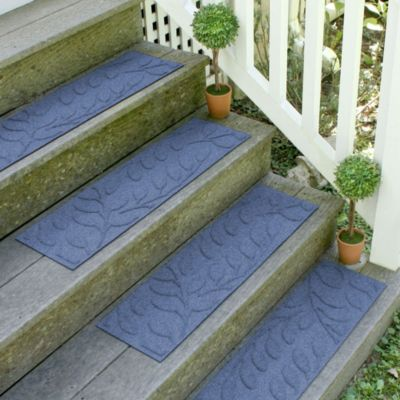 Weather Guard™ Brittney Leaf 8.5-Inch x 30-Inch Stair Treads in Navy (Set of 2)