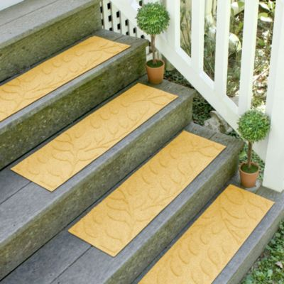Weather Guard™ Brittney Leaf 8.5-Inch x 30-Inch Stair Treads in Yellow (Set of 2)