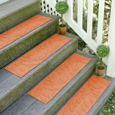 Weather Guard™ Brittney Leaf 8.5-Inch x 30-Inch Stair Treads in Orange (Set of 2)