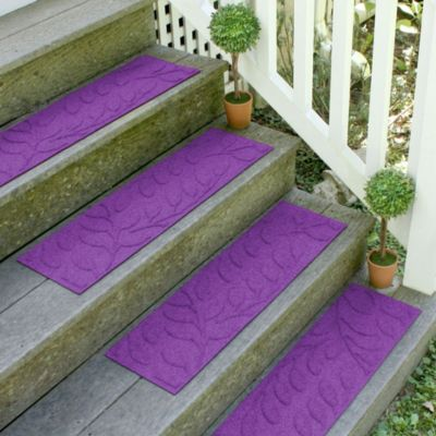 Weather Guard™ Brittney Leaf 8.5-Inch x 30-Inch Stair Treads in Purple (Set of 2)