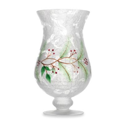 Holiday Manor 10.5-Inch Frosted Glass Hurricane Vase