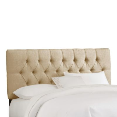 Skyline Furniture Queen Tufted Headboard in Linen Sandstone