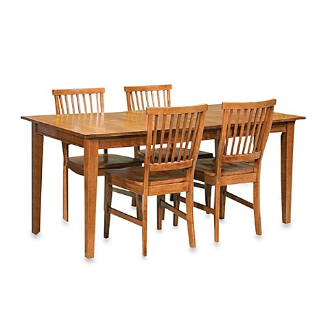 Home styles arts crafts solid wood 5 piece dining table for Wood dining sets with leaf