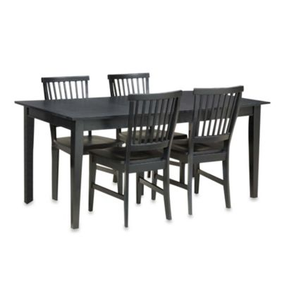 Home Styles Arts & Crafts Solid Wood 5-Piece Dining Table Set with Leaf in Ebony
