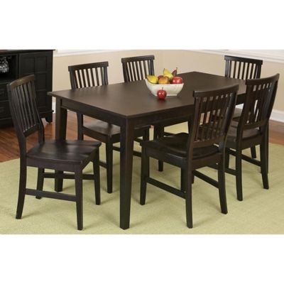 Home Styles Arts & Crafts 7-Piece Rectangular Dining Set in Black