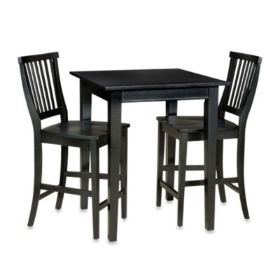 Home Styles Arts & Crafts 3-Piece Bistro Set in Ebony