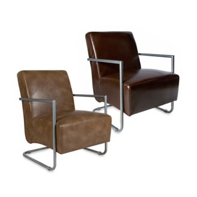 angelo:HOME Roscoe Renu Leather Metal Arm Chair