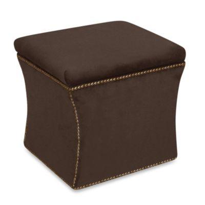 Skyline Furniture Nail Button Storage Ottoman in Velvet Chocolate