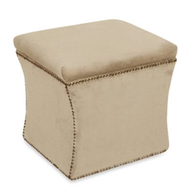 Skyline Furniture Nail Button Storage Ottoman in Velvet Buckwheat