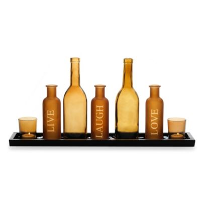 Pfatzgraff® 21-Inch Amber Bottle Sentiment Tealight Runner