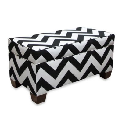 Skyline Furniture Storage Zig Zag Bench in Ash/White