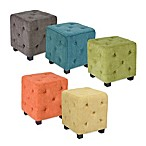 angelo:HOME Tufted Cube Velvet Ottoman