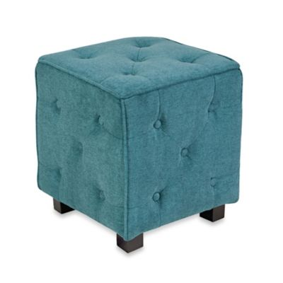 angelo:HOME Tufted Cube Velvet Ottoman in Butter Yellow