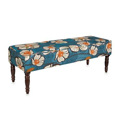 angelo:HOME Large Floral Bench in Midnight Teal and Orange