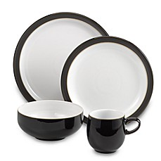 Denby Jet 4-Piece Place Setting in Black/White