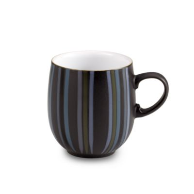 Denby Jet Black 14-Ounce Stripes Large Curved Mug