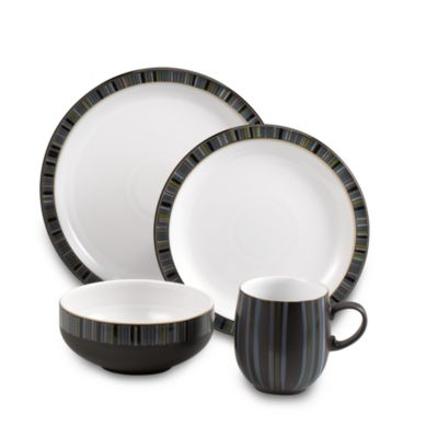Denby Jet Stripes 4-Piece Place Setting
